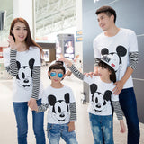 2017 Long sleeve t-shirt family cartoon mouse long sleeve family matching outfits mother and son t-shirt dress mouse family-Family Matching Outfits-Enso Store-White-2T Kids 90cm-Enso Store