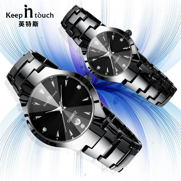 2017 Luxury Brand Lover Watch Pair Waterproof Noctilucent Men Women Couples Lovers Watches Set Wristwatches Relogio Feminino-Lover's Watches-Enso Store-black watch one set-Enso Store