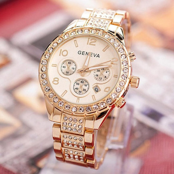 2017 Luxury Watch Women Geneva Watches Crystal Quartz Wrist Watches For Women Ladies Dress Watch Gold Rose Gold Relogio-Women's Watches-Enso Store-Gold-Enso Store