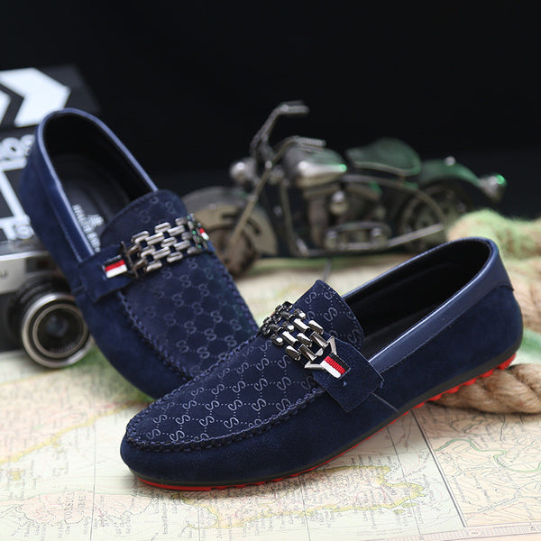aff4300b135bcd 2017 Men Black Loafer Shoes Trendy Nubuck Leather Slip-on Loafers Vintage Style  Men Driving Casual Blue Flat Shoes A1124