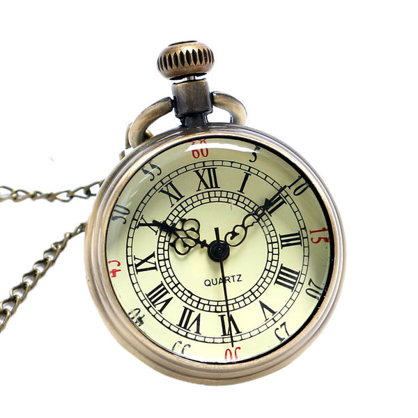 2017 New Arrival Antique Bronze Roman Numerals Dial Pocket Watch Necklace Pendant Men Gift-Pocket & Fob Watches-Enso Store-Enso Store