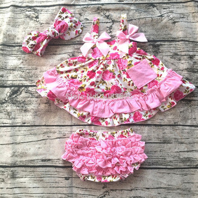2017 New arrival baby summer dress baby girl swing tops swing dress pink flower swing outfits with matching ruffed bloomer set-Baby Girls Clothing-Enso Store-01-7-9 months-Enso Store
