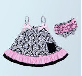 2017 New arrival baby summer dress baby girl swing tops swing dress pink flower swing outfits with matching ruffed bloomer set-Baby Girls Clothing-Enso Store-10-7-9 months-Enso Store
