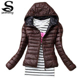 2017 New Brand Autumn Spring Women Basic Jacket Female Slim Zipper Hooded Cotton Coats Casual Black Winter Jackets-Enso Store-Brown-XS-Enso Store