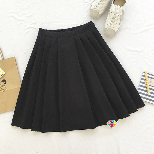 2017 new brand girls skirts pleated schoolgirls skirt uniforms cos high waist solid pleated skirt female mid retro boot skirt-Women's Bottoms-Enso Store-Black-One Size-Enso Store