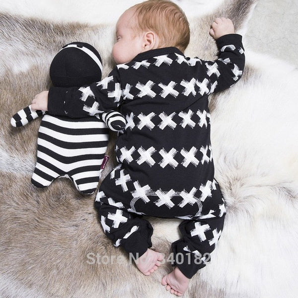 2017 New Fashion baby clothing set unisex Cotton Long Sleeve Cross Pattern Toddler Romper newborn baby boy girl clothes set-Baby Boys Clothing-Enso Store-Black-0-3 months-Enso Store