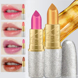 2017 New Fashion Glitter Lip Color Cosmetics Waterproof Makeup Pigment Nude Pink Long Lasting Gold Shimmer Lipstick Kit-Makeup-Enso Store-1-Enso Store