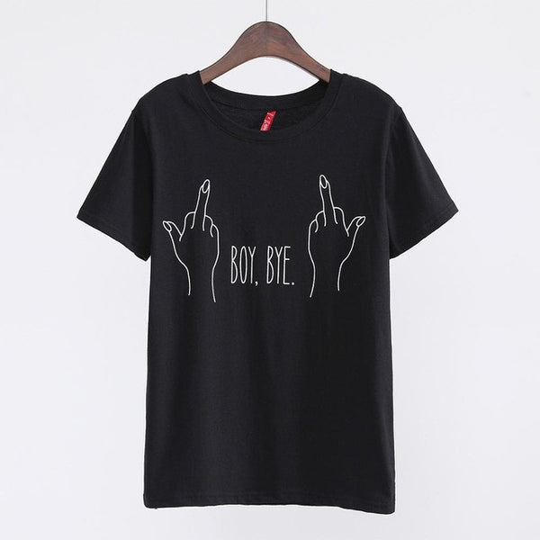 2017 New Fashion T-shirt Women BOY BYE Letter Printing T Shirt Women Tops Casual Brand Tee Shirt Femme Woman Clothing 62474-Enso Store-62474 black-S-Enso Store