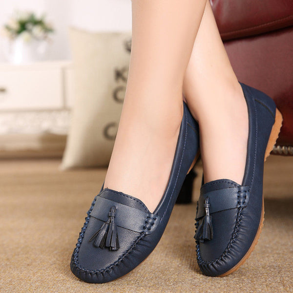 2017 new fashion tassels soft bottom Women Flats shoes elderly flat work shoes comfortable women shoes Plus Size Driving shoes-Women's Flats-Enso Store-Navy blue-5-Enso Store