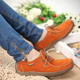 2017 New Fashion Woman Casual Shoes Wild Lace-up Women Flats Warm Comfortable Concise Woman Shoes Breathable Female Shoes aDT90-Women's Shoes-Enso Store-Orange-4.5-Enso Store