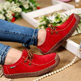 2017 New Fashion Woman Casual Shoes Wild Lace-up Women Flats Warm Comfortable Concise Woman Shoes Breathable Female Shoes aDT90-Women's Shoes-Enso Store-Red-4.5-Enso Store