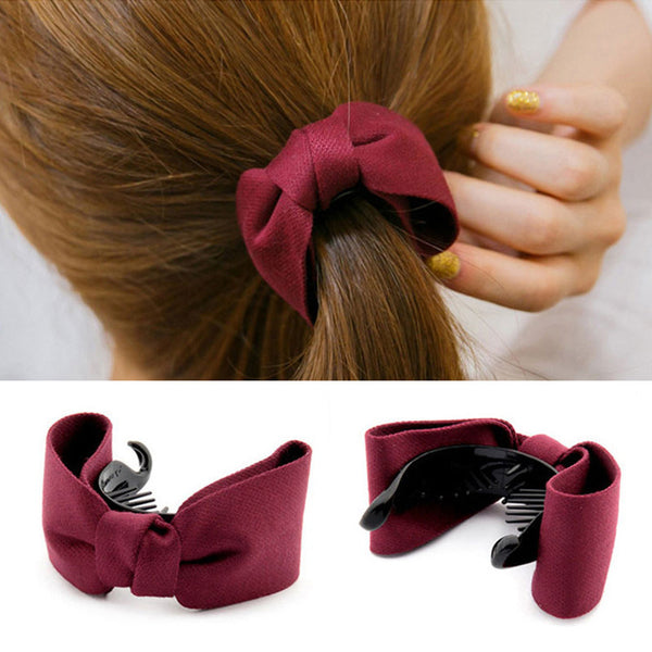2017 New Hair Claw Solid Big Bows Banana Hairpins Ties Ponytail Headband Hair Clips Hair Accessories For Women Girls Headwaer-Women's Accessories-Enso Store-Royal blue-Enso Store