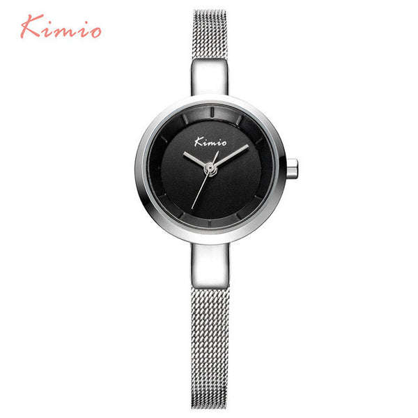 2017 New HOT Kimio Women's watches Stainless Steel fine mesh Quartz bracelet wristwatches women ladies dress watch with Gift Box-Women's Watches-Enso Store-Black-Enso Store