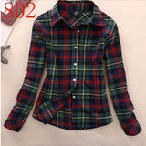 2017 New Hot Sale Long Sleeve Cotton Plaid Shirt Turn Down Collar Shirt Blusas Feminino Ladies Blouses Womens Tops Fashion-Women's Blouses-Enso Store-802-L-Enso Store