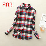 2017 New Hot Sale Long Sleeve Cotton Plaid Shirt Turn Down Collar Shirt Blusas Feminino Ladies Blouses Womens Tops Fashion-Women's Blouses-Enso Store-803-L-Enso Store