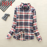 2017 New Hot Sale Long Sleeve Cotton Plaid Shirt Turn Down Collar Shirt Blusas Feminino Ladies Blouses Womens Tops Fashion-Women's Blouses-Enso Store-804-L-Enso Store