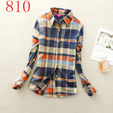 2017 New Hot Sale Long Sleeve Cotton Plaid Shirt Turn Down Collar Shirt Blusas Feminino Ladies Blouses Womens Tops Fashion-Women's Blouses-Enso Store-810-L-Enso Store
