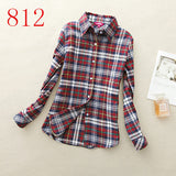 2017 New Hot Sale Long Sleeve Cotton Plaid Shirt Turn Down Collar Shirt Blusas Feminino Ladies Blouses Womens Tops Fashion-Women's Blouses-Enso Store-812-L-Enso Store
