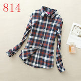 2017 New Hot Sale Long Sleeve Cotton Plaid Shirt Turn Down Collar Shirt Blusas Feminino Ladies Blouses Womens Tops Fashion-Women's Blouses-Enso Store-814-L-Enso Store