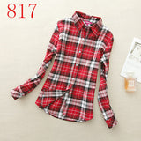 2017 New Hot Sale Long Sleeve Cotton Plaid Shirt Turn Down Collar Shirt Blusas Feminino Ladies Blouses Womens Tops Fashion-Women's Blouses-Enso Store-817-L-Enso Store