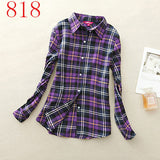 2017 New Hot Sale Long Sleeve Cotton Plaid Shirt Turn Down Collar Shirt Blusas Feminino Ladies Blouses Womens Tops Fashion-Women's Blouses-Enso Store-818-L-Enso Store