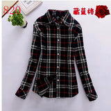 2017 New Hot Sale Long Sleeve Cotton Plaid Shirt Turn Down Collar Shirt Blusas Feminino Ladies Blouses Womens Tops Fashion-Women's Blouses-Enso Store-820-L-Enso Store