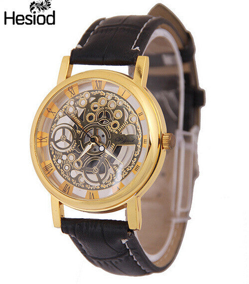 2017 New Hot Sale Skeleton Hollow Fashion Mechanical Hand Wind Men Luxury Male Business Leather Strap Wrist Watch Classic-Women's Watches-Enso Store-goldblack-Enso Store