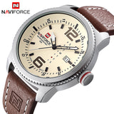 2017 NEW Luxury Brand NAVIFORCE Men Sport Watches Men's Quartz Clock Man Army Military Leather Wrist Watch Relogio Masculino-Men's Watches-Enso Store-Silver Yellow-Enso Store