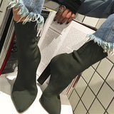 2017 New Square Heel Stretch Fabric Women Botas Sock Ankle Boots Black Green High Heel Shoes Woman Botines Mujer Women Pumps - EnsoStore