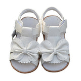 2017 New Summer Children Sandals for Girls Genuine Leather Bowtie Princess Shoes Kids Beach Sandals Baby Toddler Shoes White - EnsoStore