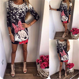 2017 New Summer Dresses Fashion Women Clothing Robe Sexy Cartoon Micky Mous Miki Print ONeck Mini Casual Sheath Dresses Vestidos-Women's Dresses-EnsoStore-139-S-Enso Store