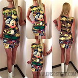 2017 New Summer Dresses Fashion Women Clothing Robe Sexy Cartoon Micky Mous Miki Print ONeck Mini Casual Sheath Dresses Vestidos-Women's Dresses-EnsoStore-8922-S-Enso Store