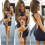 2017 New Summer Dresses Fashion Women Clothing Robe Sexy Cartoon Micky Mous Miki Print ONeck Mini Casual Sheath Dresses Vestidos-Women's Dresses-EnsoStore-8944-S-Enso Store
