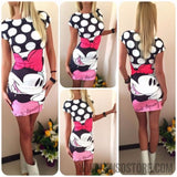 2017 New Summer Dresses Fashion Women Clothing Robe Sexy Cartoon Micky Mous Miki Print ONeck Mini Casual Sheath Dresses Vestidos-Women's Dresses-EnsoStore-Black 8914-S-Enso Store