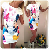 2017 New Summer Dresses Fashion Women Clothing Robe Sexy Cartoon Micky Mous Miki Print ONeck Mini Casual Sheath Dresses Vestidos-Women's Dresses-EnsoStore-White 8914-S-Enso Store