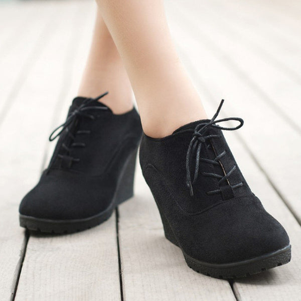 2017 New Wedges Women Boots Fashion Flock High-heeled Platform Ankle Boots Lace Up High Heels Spring Autumn Shoes For Women - EnsoStore