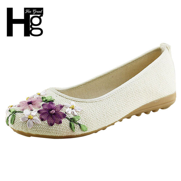 2017 New Women Flower Flats Slip On Cotton Fabric Casual Shoes Comfortable Round Toe Student Flat Shoes Woman Plus Size XWD3644-Women's Shoes-Enso Store-beige-4.5-Enso Store