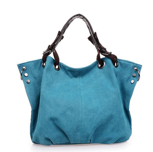 2017 New Women Handbags Woman Canvas Totes Women Clutch Bolsas Femininas Ladies Shoulder Rivet Canvas Bags Women's Bag W679-Women's Bags-Enso Store-blue-middle women bag-Enso Store