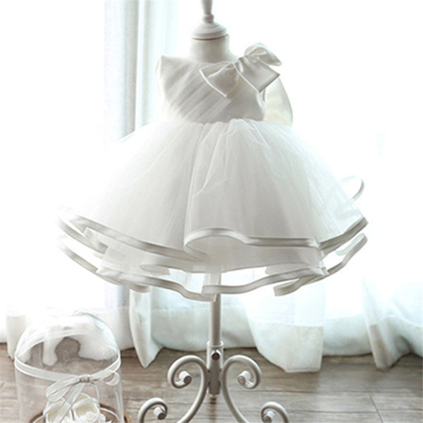 2017 Newborn Baptism Dress For Baby Girl White First Birthday Party Wear Cute Sleeveless Toddler Girl Christening Gown Clothes-Baby Girls Clothing-Enso Store-C00230B-7-9 months-Enso Store