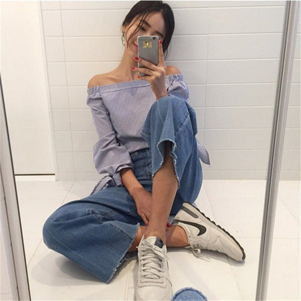 2017 Plus Size Women Sexy Blouses Slash Neck Off Shoulder Bow Long Sleeve Casual Tops Shirts Blue White Striped Party Blusas-Women's Blouses-Enso Store-Blue-S-Enso Store