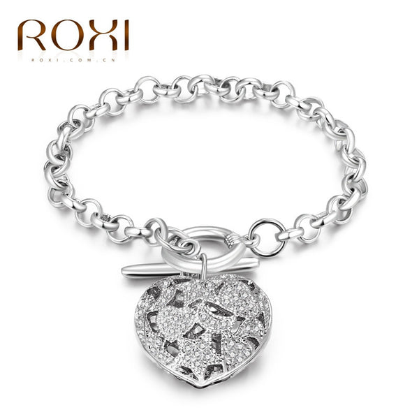 2017 ROXI Bracelets & Bangle for Women Lucky Heart Chains Fashion Jewelry White Gold Color Wedding Lover Mother's Gift-Bracelets & Bangles-Enso Store-Enso Store