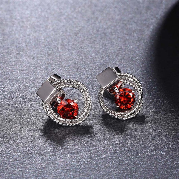 2017 ROXI Jewelry Set Lucky Eyes Red Crystal Long Necklace/Stud Earrings for Mother's Gift Fashion Jewellery-Jewelry Sets & More-Enso Store-Rhodium Plated-Enso Store