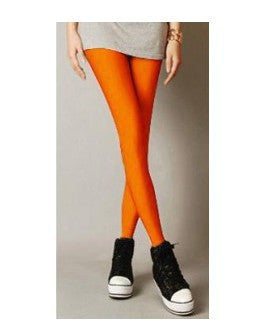 2017 Sexy Solid Candy Neon Leggings Plus Size Women's Leggings High Stretched Elastic Leggings Fitness Ballet Dancing Paint-Women's Bottoms-Enso Store-Orange-L-Enso Store