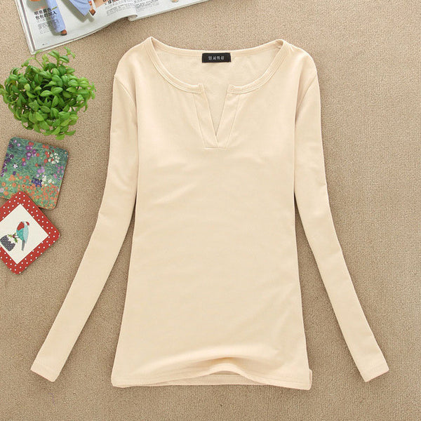 2017 solid 14 colors V-Neck Blouses Sexy Slim Knitted Long Sleeve Chemise Femme Korean Tops for Women clothing Shirt Top Blouse-Women's Blouses-Enso Store-apriot-One Size-Enso Store