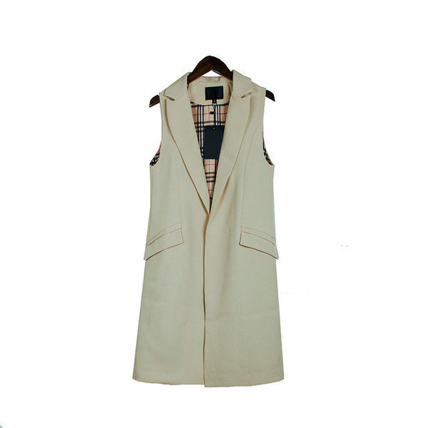 2017 spring new fashion long pockets turn-down collar open stitch sleeveless pantone blue pink beige black  blazer vest jackets - EnsoStore