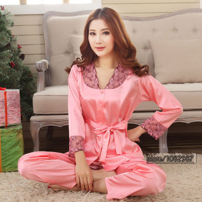 2017 Spring Summer Autumn Silk Women Pajamas Sets of Sleepcoat & Sleep Shorts Lady Nightdress Female Home Clothes Plus Size 3XL - EnsoStore