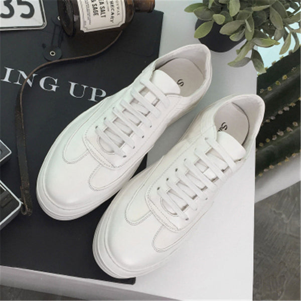 2017 Spring Summer Men's Casual Shoes Korean Style Men Shoes Black and White PU Leather Flats Shoes - EnsoStore