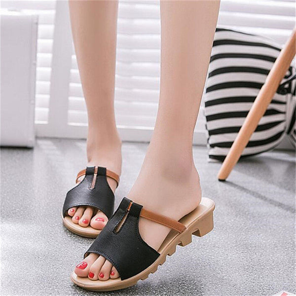 2017 Summer Cut Out Female Sandals Fashion Solid Beach Ladies Slides Slippers Trifle PU Leather Women Shoes Plus Szie 40 WSS531 - EnsoStore