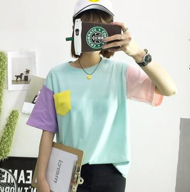 2017 Summer Style Fashion Women Harajuku Patchwork T Shirts Kawaii Casual Cotton Spell Color Patchwork De Mujer - EnsoStore
