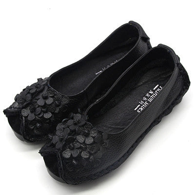 2017 Summer Style Soft Moccasins casual shoes women Flowers High Quality Brand Genuine Leather Shoes lady Flats Driving Shoes-Women's Flats-Enso Store-518 Black-5-Enso Store